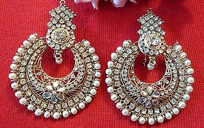 "3""Big Pakistani crafted round gold indian Jewellery Earring Stone Gold  UK"