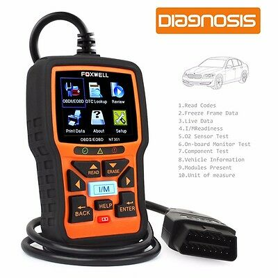 OBD2 Auto Scanner Foxwell NT301 Diagnostic Tool Fault Code Reader with O2 Sensor