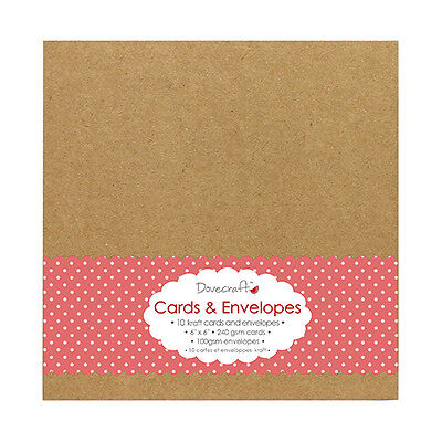 10 X dovecraft Kraft brown card blanks and envelopes 6x6