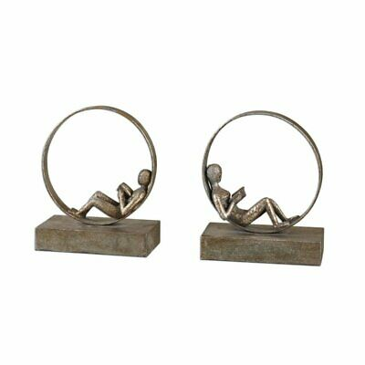 Uttermost Lounging Reader 2 Piece Bookend Set in Antiqued Silver Leaf