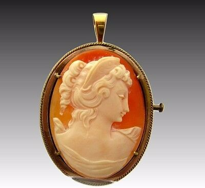 Genuine French Carved Cameo Shell medal pendant or brooch in gold plated frame
