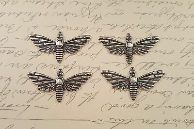 Oxidized Silver Moth Stampings - No Hole (4) - SORAT151