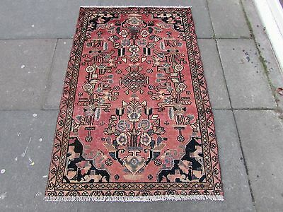 Old Traditional Persian Rug Wool Pink Red Oriental Hand Made Small Rug 140x95cm