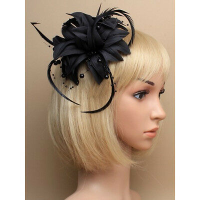 Black Fascinator on Headband/ Clip-in for Weddings, Races and Occasions-5864