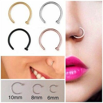 Surgical Steel Open Nose Lip Ring Hoop Piercing Thin Small Earring Helix Tragus