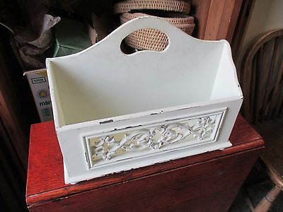 Badly Painted White Magazine Newspaper Rack Carry Handle Carved May Deliver