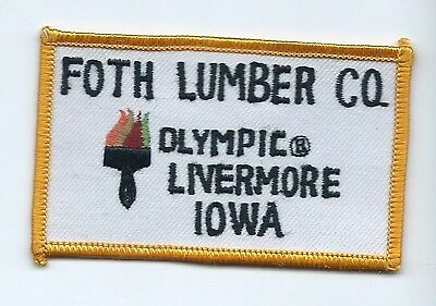 FOX Lumber Co Livermore IA employee patch Olympic brand paints 2-1/8 X 3-1/2
