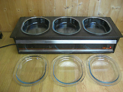 Original Philips Table Top Hostess With 3 Oval Pyrex Dishes And Lids. Warming Dr