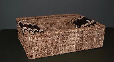 Set of 4 Multipurpose Rectangular Seagrass Storage Baskets with Handles by JVL