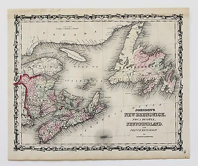 1861 Newfoundland Nova Scotia New Brunswick Map Original Railroad routes RARE