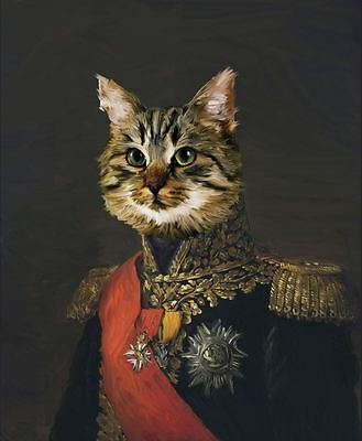 Military Tabby Cat Giclee Print - funny silly painting art army kitten kitty