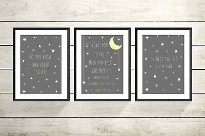 Set Of 3 Personalised New Baby A4 Print Christening Gift Nursery Baby Christmas
