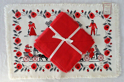 Paragon Placemats and Napkins 8 Piece Vintage Hand Printed Red