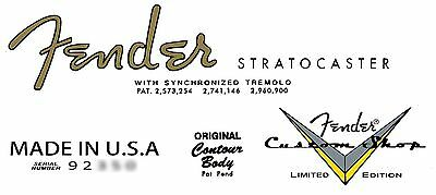 Two  Fender Custom Shop Limited Edition  Stratocaster Decals
