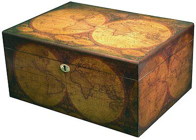 OLD WORLD Map Cigar HUMIDOR Antique Distressed Finish - Holds up to 100 cigars