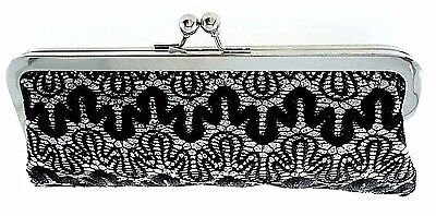 Nite Bags By Carlo Fellini Black/silver Satin Evening Clutch With Chain $75.