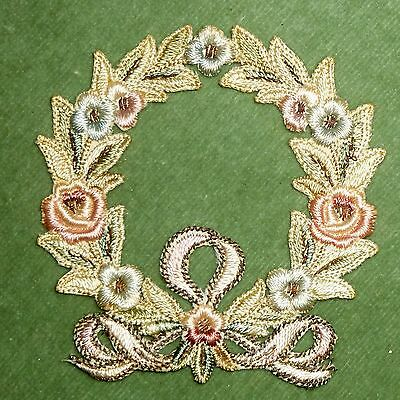 Antique Hand Embroidered Silk Floral Wreath Appliques