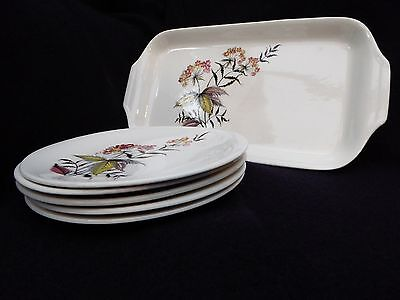 """1950s Vintage Grindley Cake Plate and Five Side Plates. Pattern """"Romany Rye"""""""