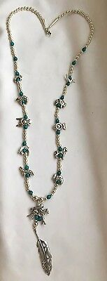 Unuaual hallmark $ sterling navojo turquoise grand necklace