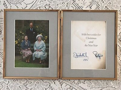 Queen Elizabeth II & Prince Philip Signed Christmas Card Framed 1985