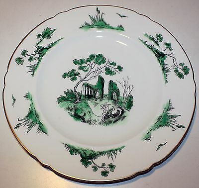 "Shelley Castle Green Dinner Plate 10-3/4"" Diameter - Mint"