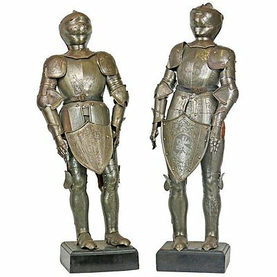 19th Century Pair of Miniature Armor Maquettes Medieval Renaissance Style