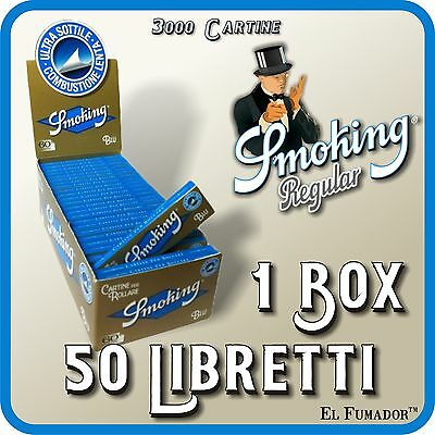 3000 Cartine SMOKING BLU CORTE - 1 Box 50 Libretti