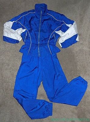 HEAD VTG 80s 90s ROYAL BLUE WHITE NYLON JACKET PANTS WINDBREAKER TRACKSUIT M