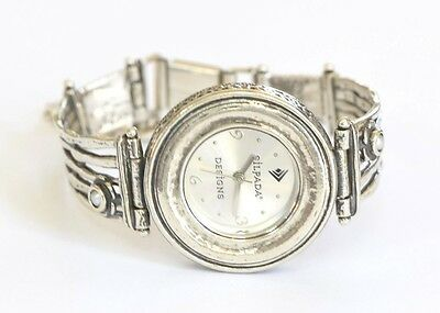 Silpada Round Hammered Pearl Flower Ladies Sterling Silver Watch T1315 RARE