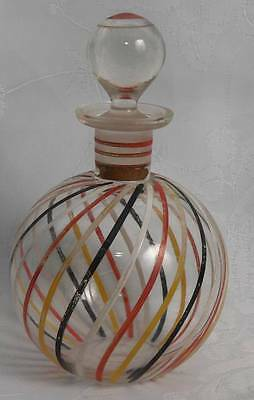 Vintage Scent Perfume Bottle Clear Glass With Spiral Coloured Lines Round Glass