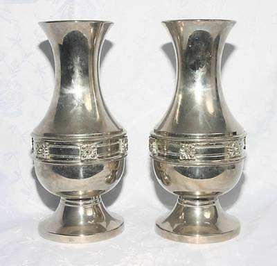 Beautiful Pair Of Chrome Pated White Metal Brass Vases (4062)