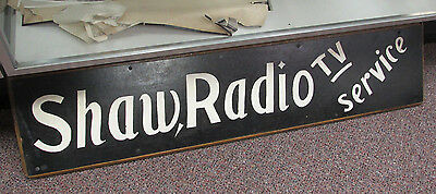 Vintage 2 Sided 4' Wooden Hand Painted Sign Advertisement SHAW Radio TV Service