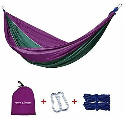Double Parachute Hammock Portable Nylon Fabric Travel Camping Purple Olive