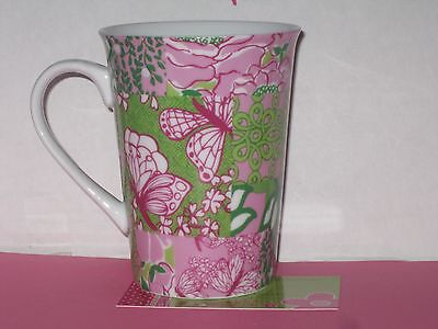 Lilly Pulitzer Porcelain Cup Mug Pink & Green Butterfly DreamWeaver New NOS