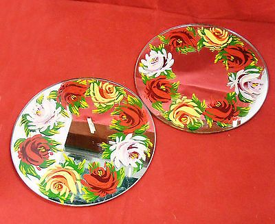 Large Mirror Candle Stand - Hand Painted with Canal Roses
