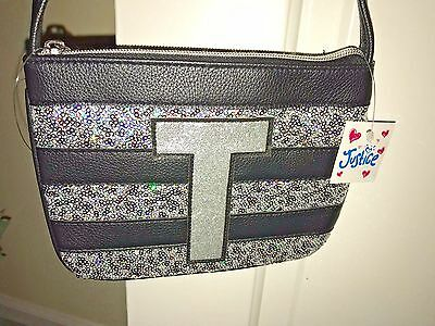 "NWT Girls Justice Black & Silver w/Sequence Initial Letter ""T"" Purse"