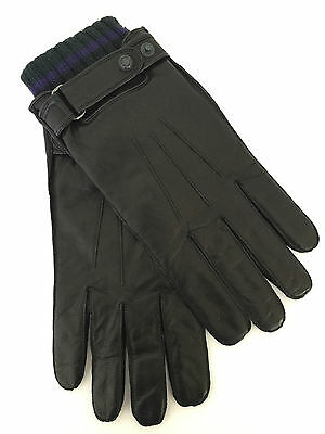 Ted Baker Soft Black Lambskin Leather Gloves With Ribbed Cuff Size S/m