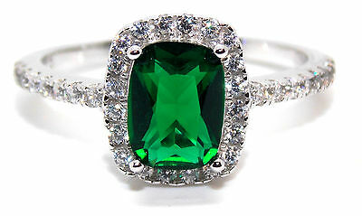 Sterling Silver Emerald And Diamond 1.89ct Ring (925) Size 7 (N)