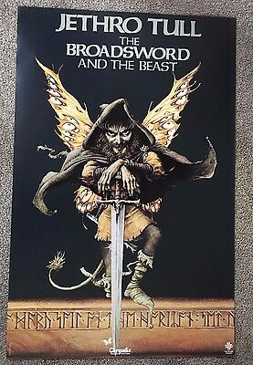 """RARE ~ Jethro Tull """"The Broadsword and the Beast"""" Promo Poster ~ 1982 ~ 34"""" x 22"""