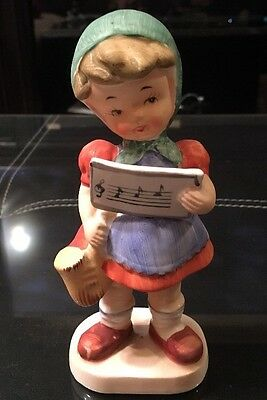 Rare Vintage Hummel-Inspired Figurine: German Girl w/ Sax & Music Sheet (464)