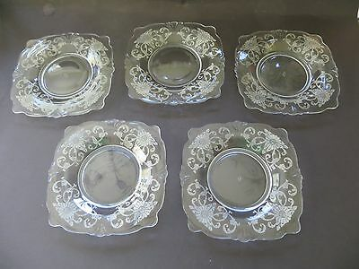 """5 Crystal Heisey Empress 6"""" Square Bread Cake Plates With Old Colony Etching"""