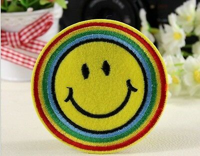 Wholesale lot  10pcs  embroidered rainbow smiley face  Iron On Patch 7.5cm