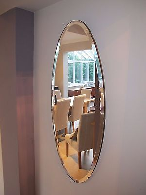 Beautiful Vintage Oval Bevelled edge mirror with chain, heavy stunning!