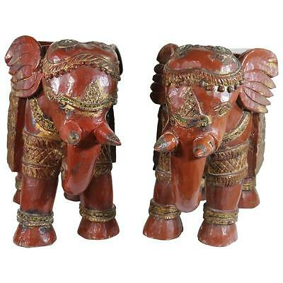 Indian Oxblood Red Teak Carved Elephant Seats or Side Tables 19th Century