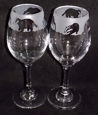 "New Etched ""BADGER WINE GLASS(ES)"" - You can purchase 1 or 2 - Beautiful Gift"