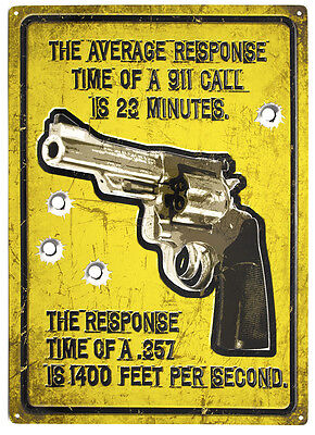 """Average Response Time"" Of A 357 Is 1400 Fps Per Second Metal GUN Sign 17""x12"""