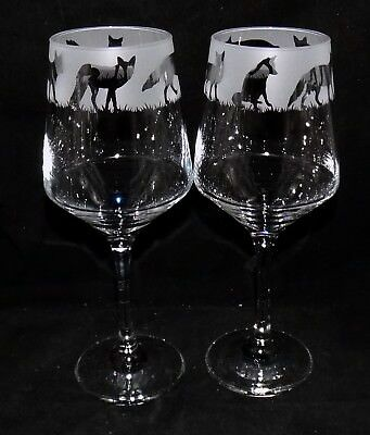 """New Etched """"FOX WINE GLASS(ES)"""" - You can purchase 1 or 2 - Beautiful Gift"""