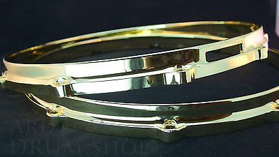 "Ludwig NEW Brass Plated Die Cast Snare Hoops 14"" PAIR 10 Hole/Lug FREE SHIPPING"