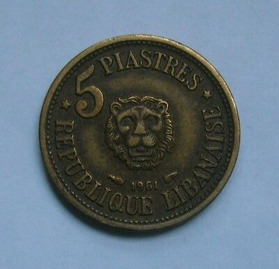 Lebanon 5 Piastres 1961, Lion head - Cedar tree
