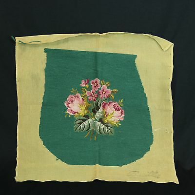 VTG Green Rose Floral Needlepoint Seat Fabric Cushion Cover